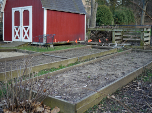 April view of barn and garden.