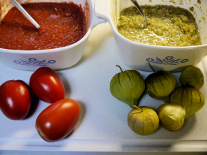 Phot of red and green salso with Roma Tomatoes and Tomatillos.